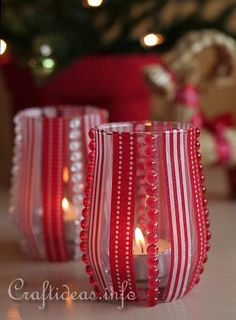 DIY Tea Light Holders..great idea for several holidays too (Easter, 4th of July, Thanksgiving, Valentines, Christmas, etc.). Just choose ribbon, accents from those seasons. Great for seasonal decor or themed parties.