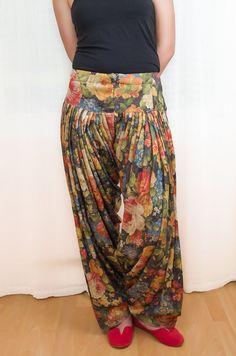 Black Floral Harem Pants - Ethnic Draped Pants - OS. $42.00, via Etsy.