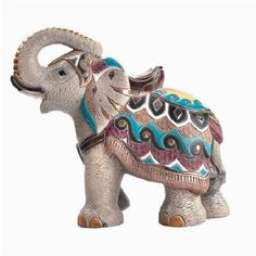 Indian Elephant Large Ceramic Sculpture Figurines by Derosa with Gold Trim - Animals