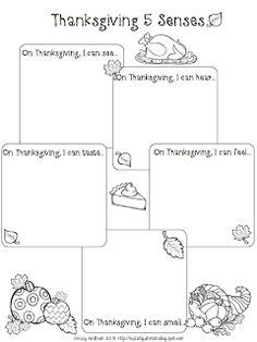 Five senses graphic organizer for Thanksgiving - good tool for building vocabulary for writing