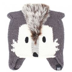 Animal Unisex Grey Noza Fox Beanie | AlexandAlexa