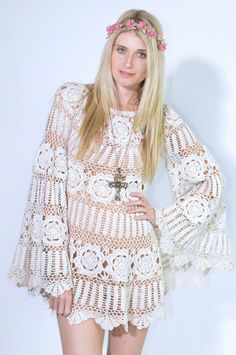 Most Wanted Crochet Angel Sleeves Dress