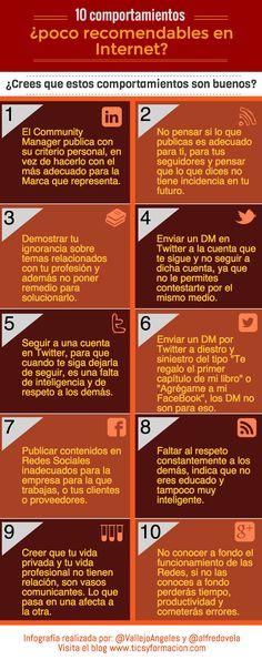 10 comportamientos poco recomendables en Redes Sociales #infografia #infographic #RedesSociales