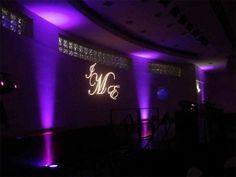 Purple up lighting and monogram light