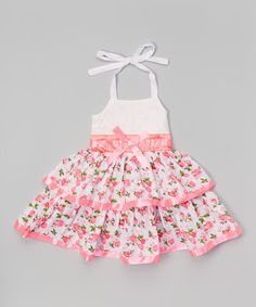 Loving this Pink Floral Bow Halter Dress - Toddler & Girls on #zulily! #zulilyfinds