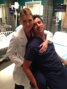 Ellen Pompeo Hugs Patrick Dempsey on Grey's Anatomy Season 10 Set