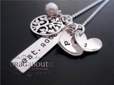 Hand Stamped Jewelry - Personalized Necklace - Sterling Silver - Our Family Tree