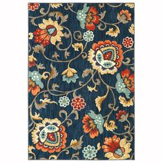 Mohawk Home A+R Shelstone Sapphire Rectangular Indoor Woven Area Rug (Common: 5 x 8; Actual: 63-in W x 94-in L x 0.6-ft Dia)
