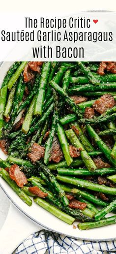 This garlic asparagus is an easy fresh and tender side dish with bacon chopped up and sautéed together. Adding bacon enhances this delicious dish to the next level! Sauteed Asparagus Recipe, Asparagus Side Dish, Ways To Cook Asparagus, Grilled Asparagus Recipes, Asparagus Bacon, Bacon Recipes, Vegetable Recipes, Cooking Recipes, Healthy Recipes