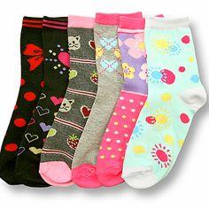 6 Pair Girls Socks Size 6-8 Assorted Color Novelty Fashion Design Set Pack #Mopas #ComputerSocks