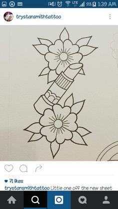 Kritzelei Tattoo, Doodle Tattoo, Tattoo Outline Drawing, Tattoo Design Drawings, Lipstick Tattoos, Makeup Tattoos, Baby Tattoos, Flower Tattoos, Traditional Tattoo Flowers