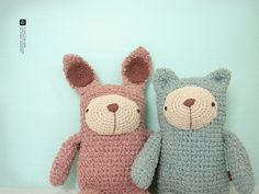 cool contemporary style crochet plushie inspiration Bear and bunny
