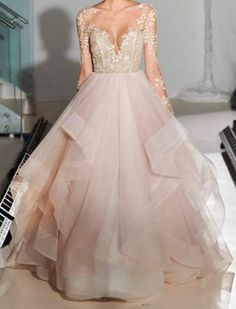 Elegant A-Line Beauty Long Sleeves Illusion Back Appliques Beading Tulle Wedding Dress,A-Ling prom dress