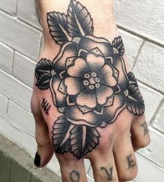Black flower American Traditional Tattoo