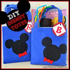 DIY-Disney-Totes along with 33 Disney Crafts Ideas and Recipes for prepping for your trip to Disney World or Disneyland, or just wishing you were back there!