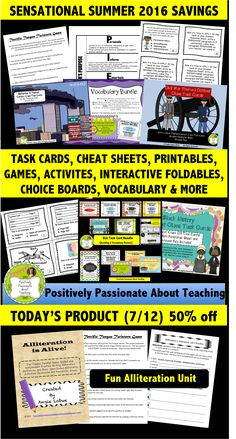 Sensational Summer 2016 SAVINGS kicks off today. This is TODAY'S product that is 50% off. You'll love this Alliteration is Alive unit that includes a fun game and detailed suggestions, resources and ideas to help you teach alliteration in an exciting and engaging manner. Check out this product and explore my entire TpT store. #positivelypassionateaboutteaching
