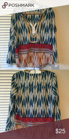 """ANTHROPOLOGIE MAEVE TOP ANTHROPOLOGIE MAEVE TOP super cute!! Size 8. Approx 17"""" bust. Hi lo hem. About 27"""" on lo side. Anthropologie Tops"""