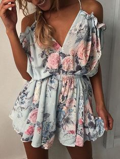 Low Cut Cold Shoulder Stretchy Ruched Romper