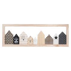 Tableau en bois noir/blanc 24 x 70 cm LITTLE HOUSES Scrap Wood Crafts, Scrap Wood Projects, Wooden Crafts, Craft Projects, Projects To Try, Diy Crafts, Tableau Design, Cafe Art, Baby Decor