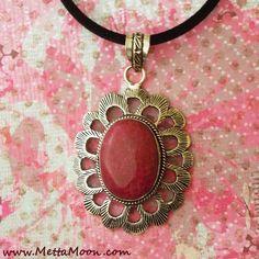 MettaMoon Berry Jade Flower Pendant Necklace www.METTAMOON.com