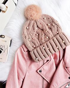 Hat: pink beanie tumblr beanie pom pom beanie embellished jacket pink jacket leather jacket