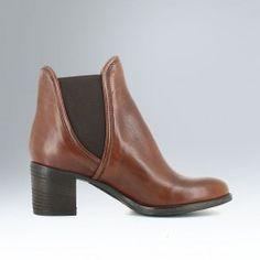 Boots chelsea à talon en cuir cognac