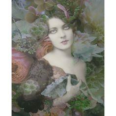 Vintage flower Goddess photomontage digital art print pastel grey peach 1920 re vamped wall art on Etsy, $24.00