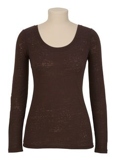 Long Sleeve Burnout Scoop Neck Tee available at #Maurices
