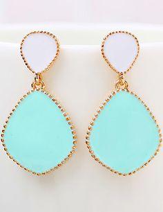 Blue Glaze Gold Drop Earrings 6.80