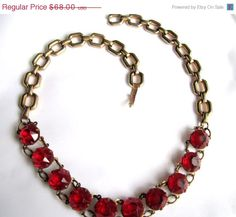 Art Deco Necklace Ruby Red Rhinestone 1930s Vintage   61.20