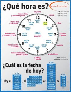telling time in spanish www.spanishtutor.biz #Spanish
