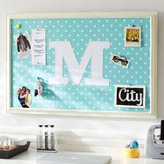 Monogram Pool Dottie Framed Pinboard, would be an easy DIY project for a kids room