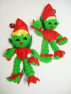 3 vintage christmas ornaments yarn elf dolls. $12.00, via Etsy.