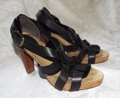 COLE HAAN STRAPPY, Black Sexy Cork Platform Stacked High Heels, Size 6.5B #ColeHaan #Strappy