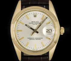 Rolex Date Vintage Gents Yellow Gold Silver Baton Dial 1500 Rolex Date, Vintage Rolex, Dating, Watches, Yellow, Silver, Gold, Stuff To Buy, Accessories