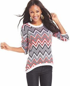 Say What? Juniors' Zigzag High-Low Graphic Sweater