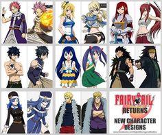 Fairy Tail: New Character Designs // Natsu Dragneel, Lucy Heartfilia, Erza Scarlett, Gray Fullbuster, Wendy Marvell, Gajeel Redfox, Juvia Lockser, and Laxus Dreyar