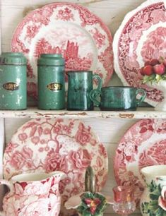 I love red transferware plates because they remind me of toile.