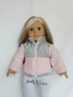 Pink Nylon-Fleece Sweetheart Jacket Doll Clothes fit American Girl Doll Only