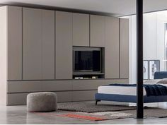 Sectional lacquered wooden wardrobe with built-in TV GOLA Bedroom Cupboard Designs, Wardrobe Design Bedroom, Bedroom Cupboards, Sage Bedroom, Bedroom Decor, Master Bedroom, Bedroom Built Ins, Tv Built In, Modern Tv Wall Units