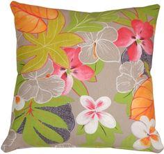 Hawaii Garden Floral Throw Pillow from Pillow Décor Floral Throws, Floral Throw Pillows, Toss Pillows, Decorative Throw Pillows, Accent Pillows, Tropical Colors, Tropical Style, Tropical Garden, Pillow Inserts