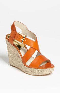 MICHAEL KORS Giovanna Wedge Sandal Tangerine $129  LARGE AUTHENTIC DESIGNER SELECTION VISIT:  www.shorecasuals.com