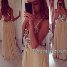 Champange V-neck cross back graduation/prom dress #promdress #graduation