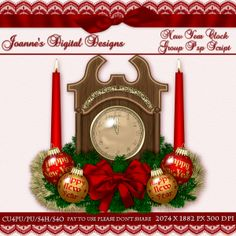 New Year Clock Group PspScript $6.00 - 70% off all this month! :) Also available as a Photoshop layered template Check out my new $50 Unlimited Useage License too! http://www.joannes-digital-designs.com/new-year-clock-group-pspscript-p-2353.html