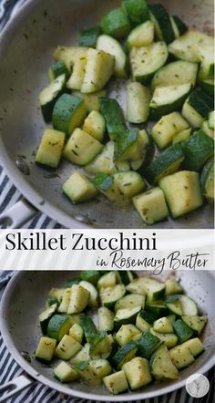 Fresh garden zucchini squash sautéed in a skillet on top of the stove in rosemary butter is a tasty, quick vegetable side dish. #vegetables #zucchini #glutenfree #keto #whole30 Parmesan Crusted Zucchini, Roast Zucchini, Sauteed Zucchini, Zucchini Squash, Side Dish Recipes, My Recipes, Beef Recipes, Cooking Recipes, Healthy Recipes