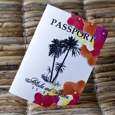 Passport Wedding Invitation Design Fee (Tropical Palms and Flowers) Passport Wedding Invitations, Cheap Wedding Invitations, Save The Date Invitations, Wedding Invitation Design, Invites, Caribbean Party, Inexpensive Wedding Venues, Event Themes, Tropical Party