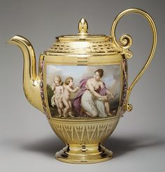Porcelain teapot by Théière Asselin for Sèvres Manufactory, France 1813 (in the the Metropolitan Museum of Art, USA)