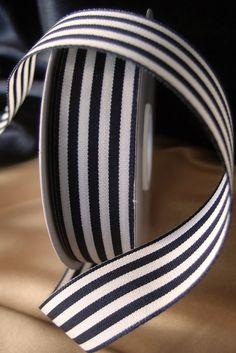 "$7. Black & Ivory Striped Ribbon 7/8"" x 25 yards"