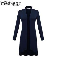 Meaneor женщины с длинными рукавами кардиган женщины передняя твердые кардиган женщин длинный кардиган пальто купить на AliExpress