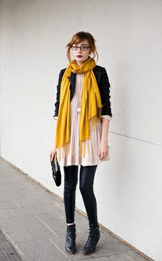 marigold scarf and black leather leggings make a summer dress ready for cool weather
